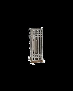 PTMD - Windlicht - Aluminium Ruwe Lantaarn met Hout - Hoogte 47 cm