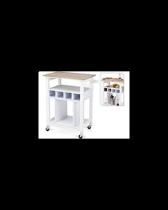 Keukentrolley Wit met houtkleurig werkblad