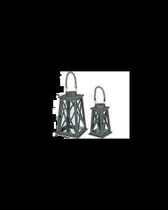 Windlicht - Lantaarn Hout Groen - Set 2 Delig